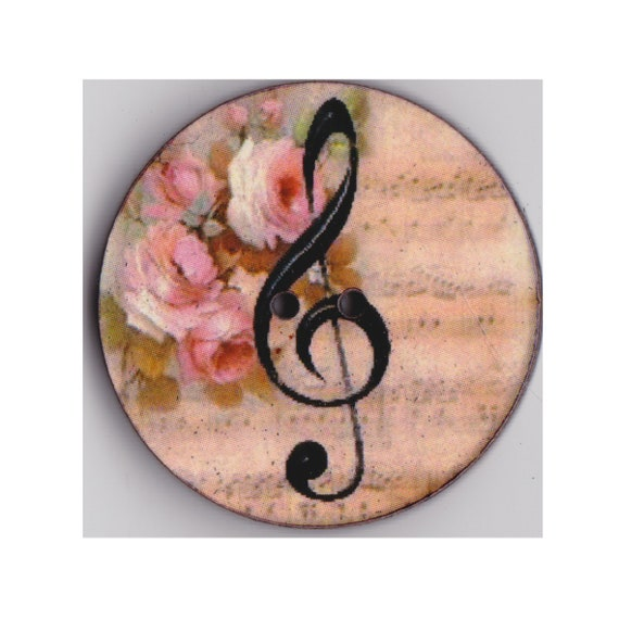 Treble clef button wood handcrafted Princess heart