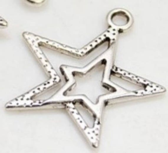 """Set of 5 charms """"Star"""" silver color"""