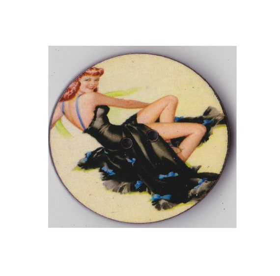 pinup button wood handcrafted Princess heart