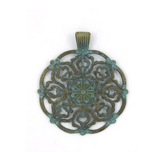 "Great find charms - blue ""rosette"""