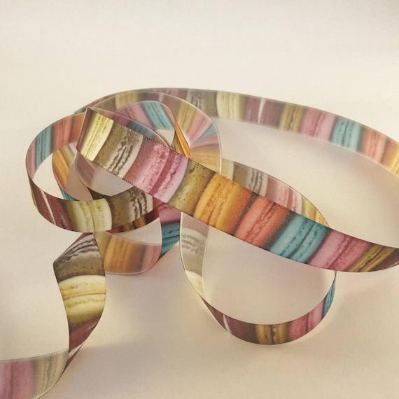 Pattern macarons on white satin ribbon