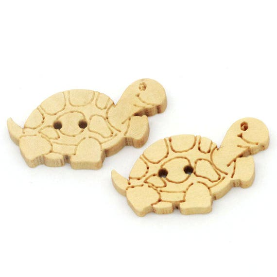 """BBN224 - 6 wooden buttons natural """"turtle"""" pattern"""