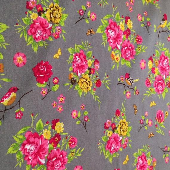 "Fabric pattern ""flower"" cotton - coupon 50 x 55 cm"