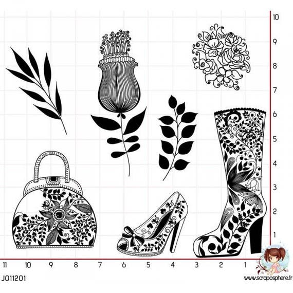 SCR3 fashion doodling 7 rubber stamps to mount Board