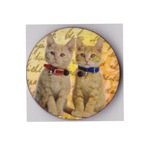 Gingers button cat wood craft heart Princess