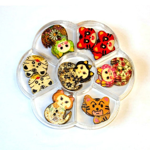 cats and cat - assorted wood buttons