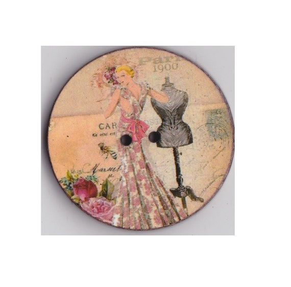 mannequin woman button wood handcrafted Princess heart