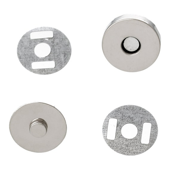 set of 5 magnetic clasps - silver - size: 14 mm