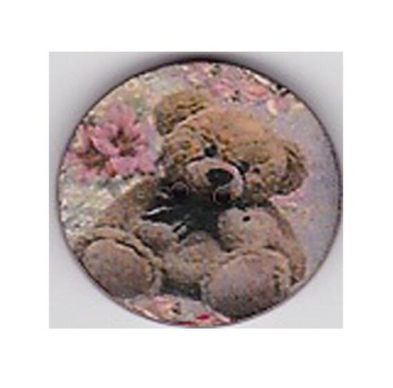 Teddy bear button flower wood craft heart Princess
