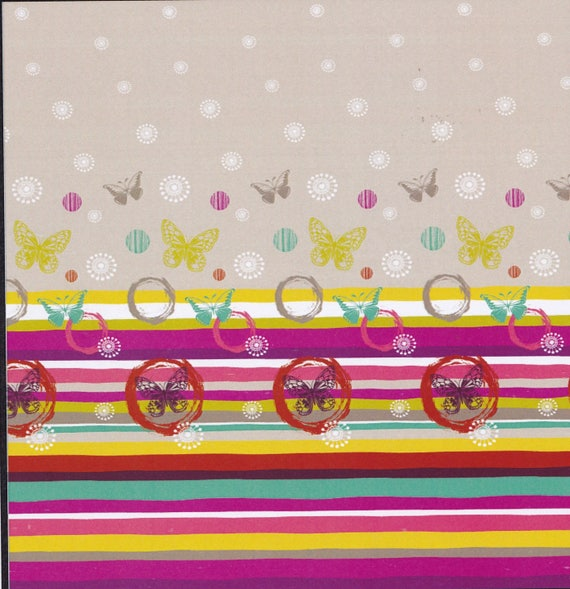 Fabric PAPILLONADE Butterfly pattern cotton in shades of pink, multicolor, coupon 50 x 280 cm