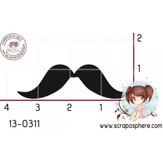 "SCR3.2 rubber stamp to assemble pattern ""mustache"""