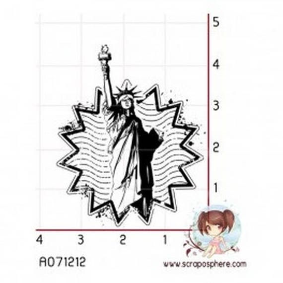 SCR21 Statute of liberty motif rubber stamp