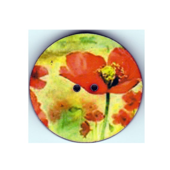 Poppy button wood handcrafted Princess heart