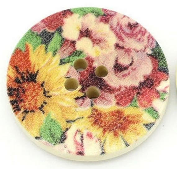 BBR30247 - 6 round buttons with colorful wooden 30 mm