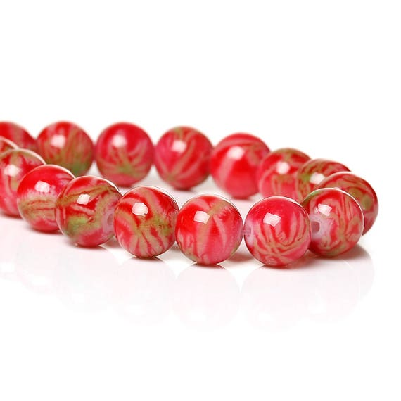 Set of 10 - Red - 8 mm glass beads