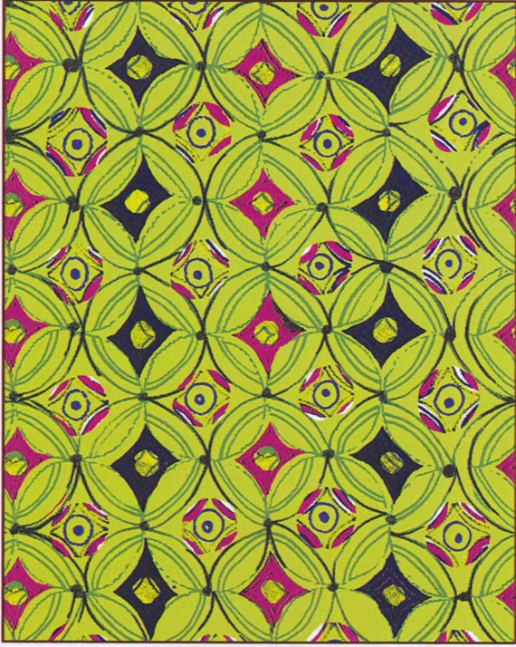 Fabric SKOURA pattern round and diamond cotton in shades of green, coupon 50 x 47 cm