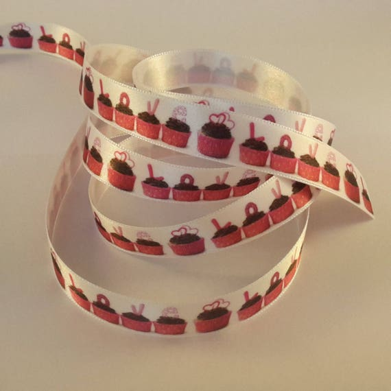 Cup cake on white background - 2 M pattern satin ribbon
