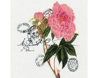 """Applied """"rose"""" cotton twill"""