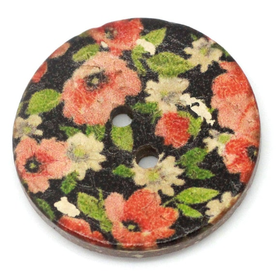 BCO25109 - colorful coconut 4 round buttons 25 MM