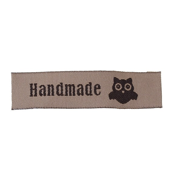 """Set of 5 tags woven with writing """"hand made"""""""