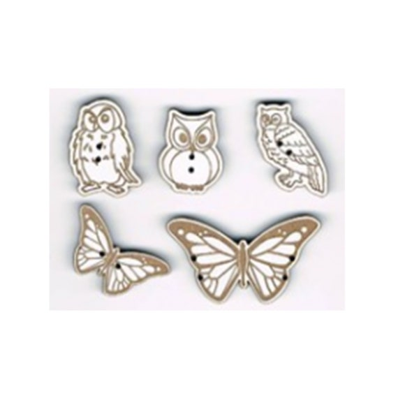 "plate pattern wooden buttons handmade ""Butterfly and OWL"""