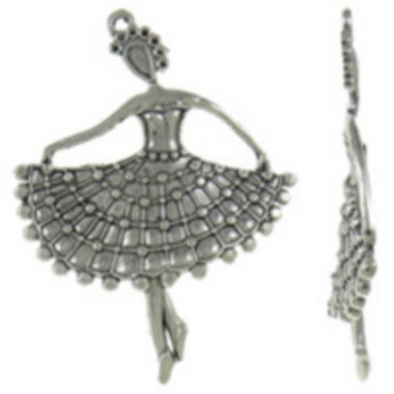 """1 large """"Dancer"""" silver colored charm size 57 x 75 mm"""