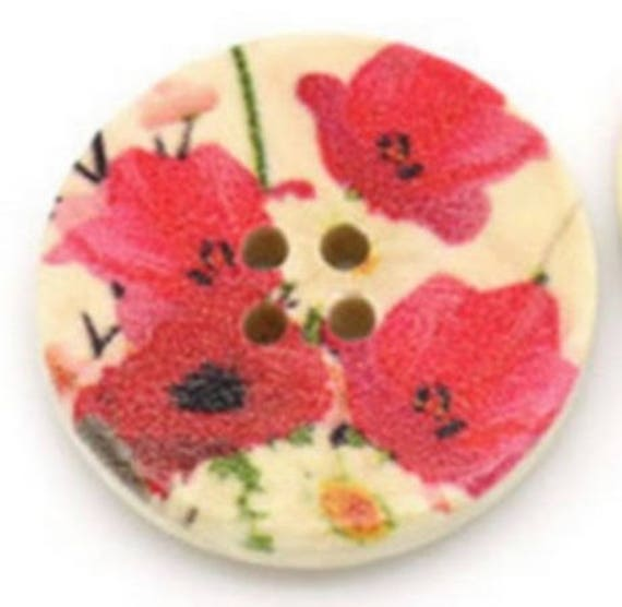 BBR30227 - 6 round buttons with colorful wooden 30 mm