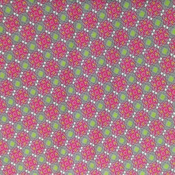 """Fabric pattern """"flower tile"""" cotton - coupon 50 x 55 cm"""