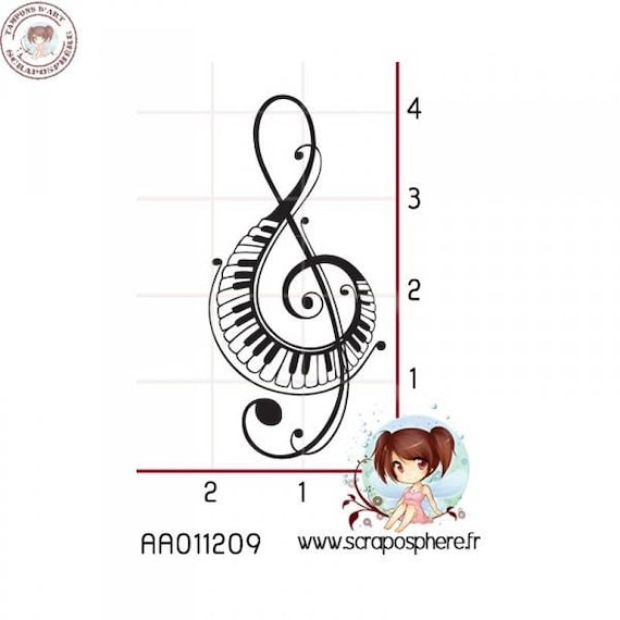 """SCR110 rubber stamp to """"treble clef"""" pattern"""