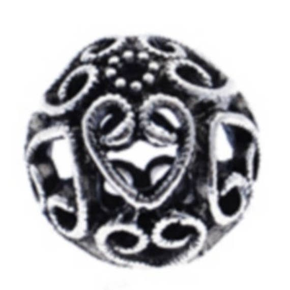 Set of 5 beads hollow metal - silver - 19 mm