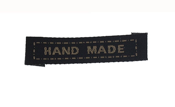 "Woven with writing ""hand made"" set of 6 labels"