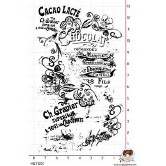 SCR126 milk cocoa rubber stamp mounted on foam