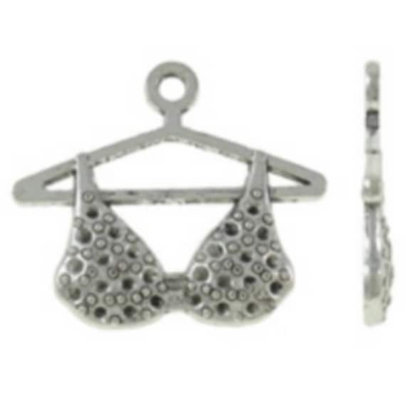 """Set of 5 charms """"Bra"""" silver color size 27 x 44 mm"""
