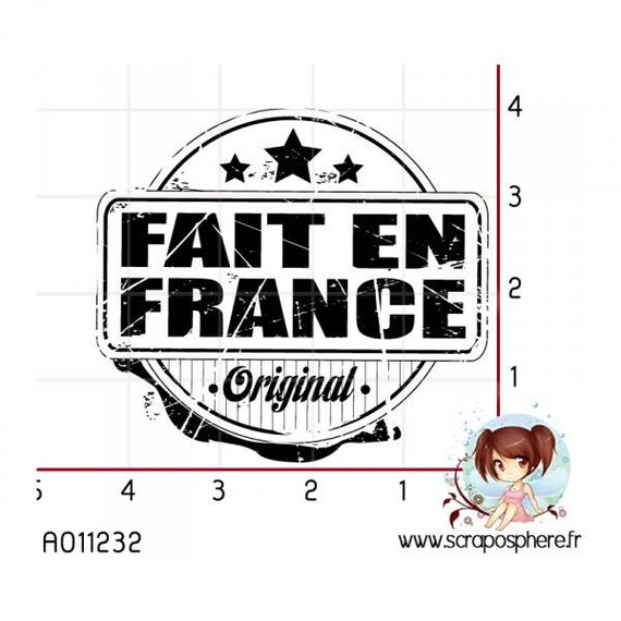 """SCR61 rubber stamp """"made in France"""" pattern"""