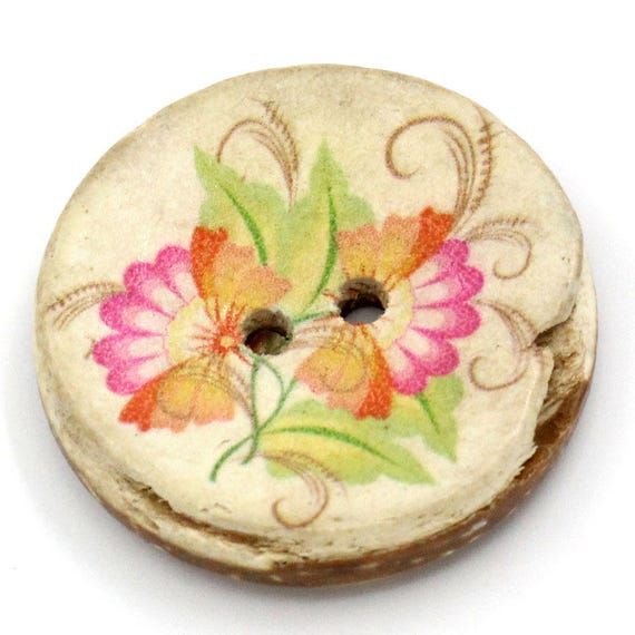 BCO30102 - 3 round 30 mm colorful wooden buttons