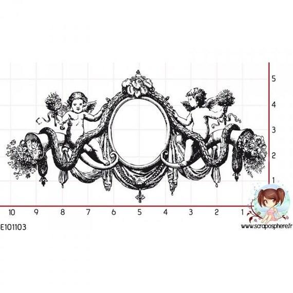 SCR82 rubber stamp to mount mirror Angel motif