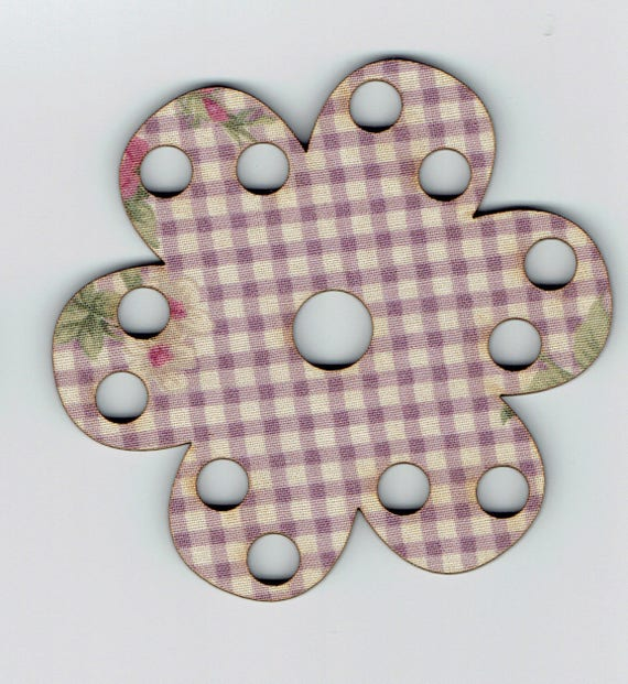 Tri-Fils wooden and fabric flower size: 8.8 x 8.8 cm