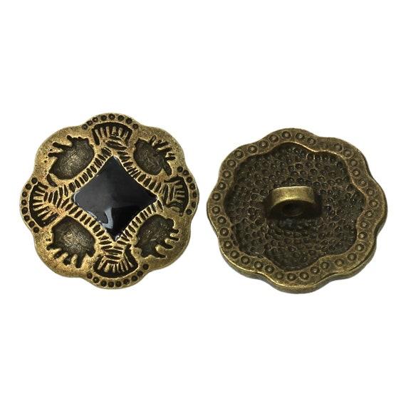 1 - flower pattern - 20 mm metal button