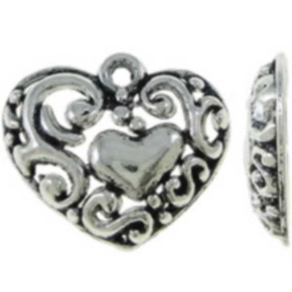 "Set of 5 charms ""Heart"" silver plated size 20, 5 x 17, 5 mm"