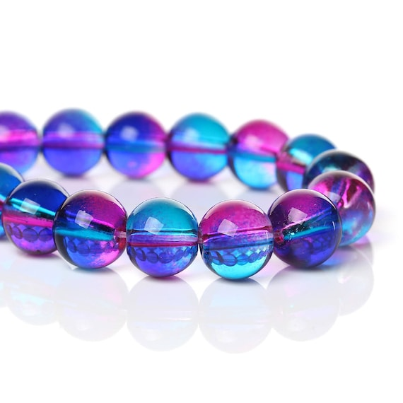 Set of 10 glass beads - pink and blue transparent - 10 mm