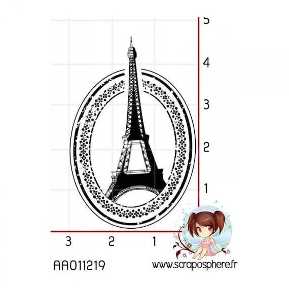 SCR22 scraposphere Eiffel Tower rubber stamp