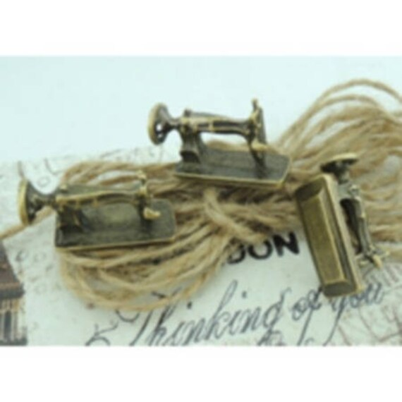 """Set of 5 charms """"Sewing Machine"""" bronze size 24 x 13 mm"""