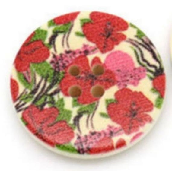 BBR30226 - 6 round buttons with colorful wooden 30 mm