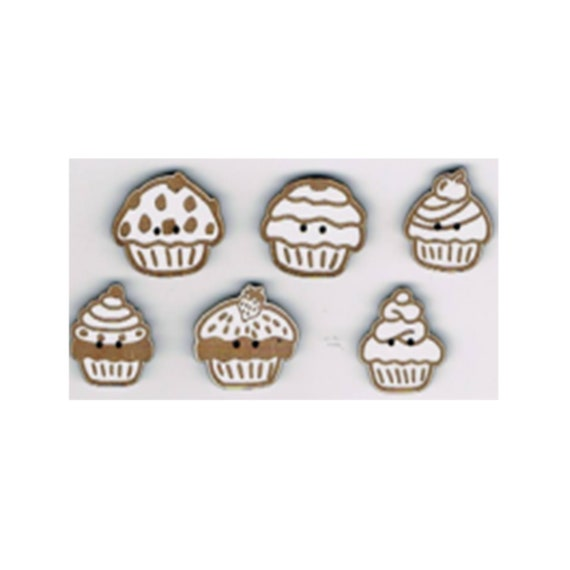 "Buttons craft Board wood motif ""Cup cake"""