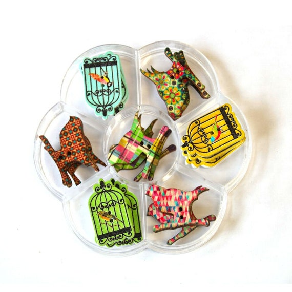 birds and cages - assorted wood buttons