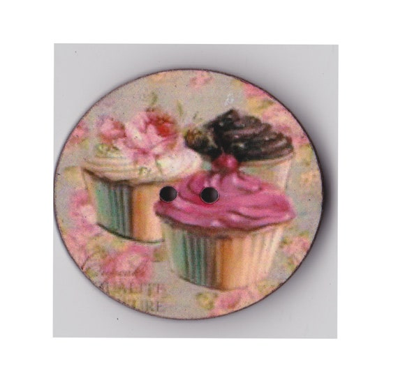 Cup cake button wood handcrafted Princess heart