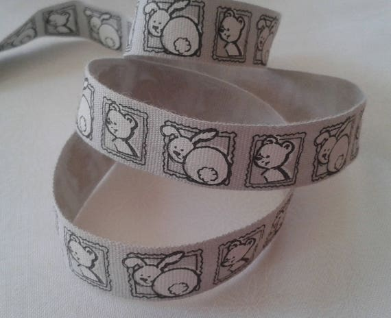 R - Tape gray grosgrain with bunny and teddy bear - 10 mm - 1 M