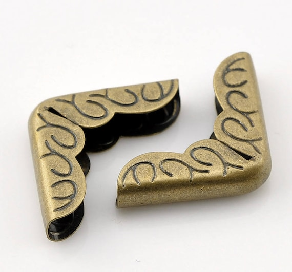 Set of 10 corners / angle - bronze - size: 15 mm