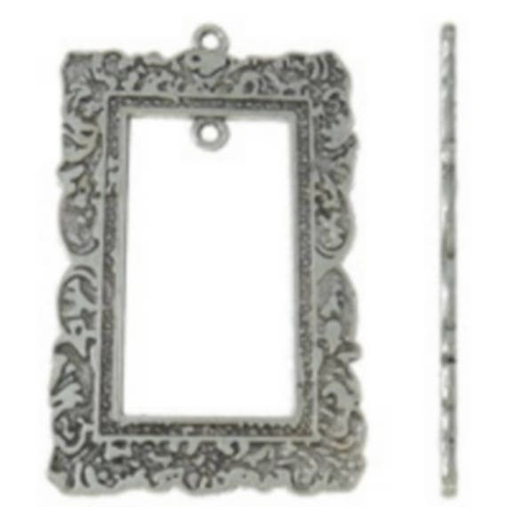 "1 large charm ""frame"" silver color size 34 x 53 mm"