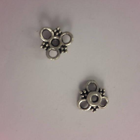 Set of 10 caps - silver color - 10 mm